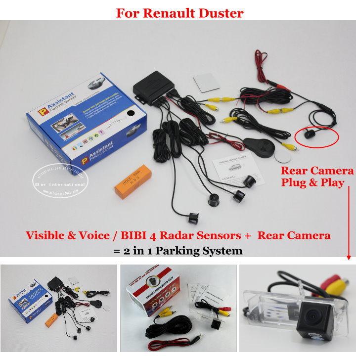 Liislee Pour Renault Duster-Voiture Capteurs de Stationnement + Vue Arrière caméra = 2 dans 1 Visuel/BIBI Alarme Parking Système
