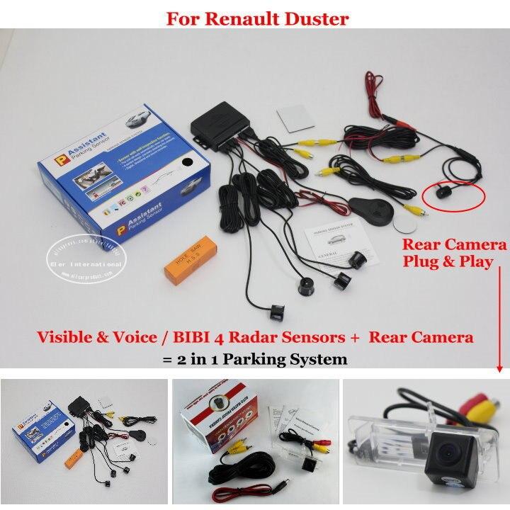 Liislee для Renault Duster-автомобиль Сенсоры парковочные + заднего вида Камера = 2 в 1 визуальный/Биби сигнализация парковка системы