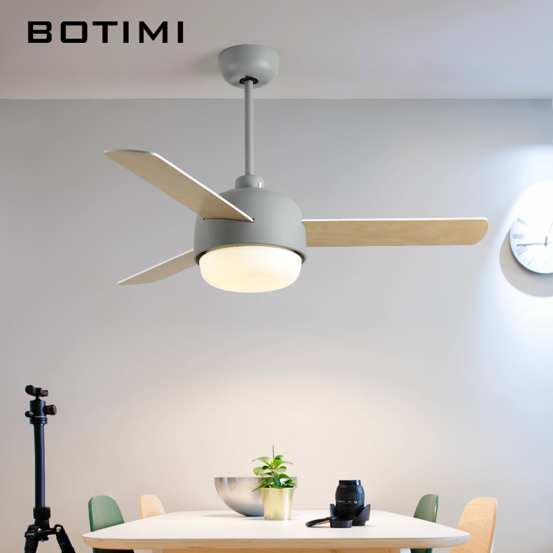 BOTIMI Modernos Ventiladores de Teto Com Luzes de Led Para Sala de estar 220 V Ventiladores Ventiladores de Teto Lâmpada Azul Branco Cinza de Refrigeração luz do ventilador