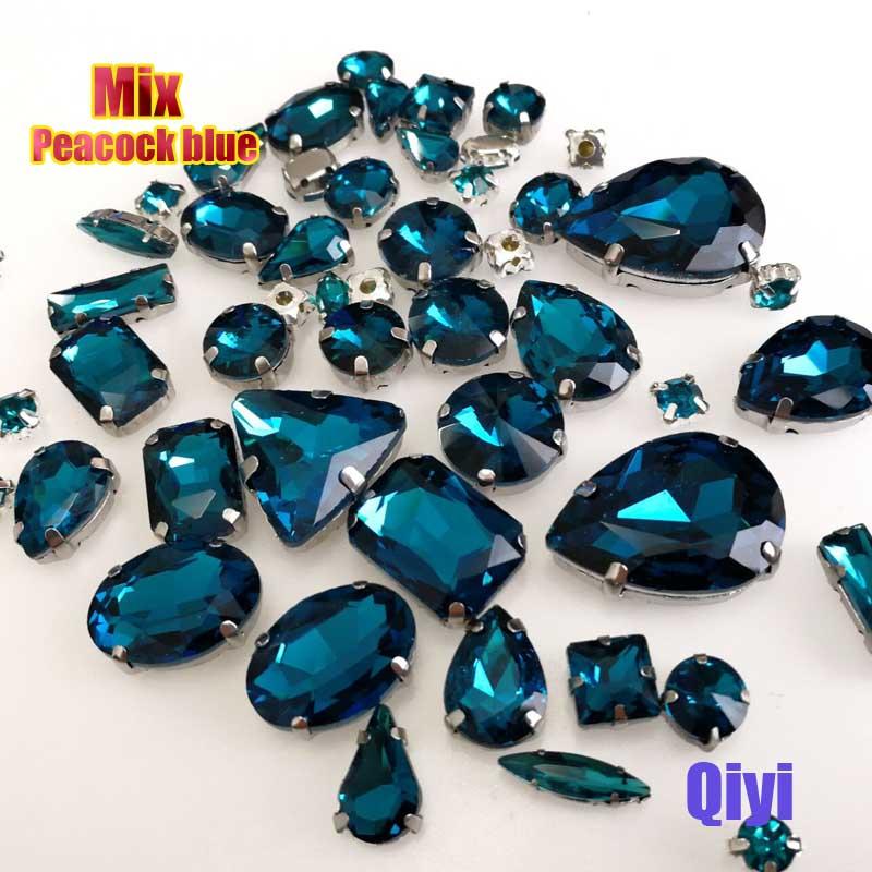 Vendre à perte! 50 pcs/sac de haute qualité forme mixte paon bleu en verre coudre sur griffe strass, bricolage vêtements accessoires SWM10