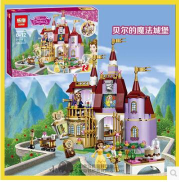 Lepin 01010 Princess Cinderella Castle Palace Girl Friends Building Blocks 379pcs Bricks Toy For Children Birthday Compatible lepin 16008 4160pcs cinderella princess castle city model building block kid educational toys for gift compatible legoed 71040