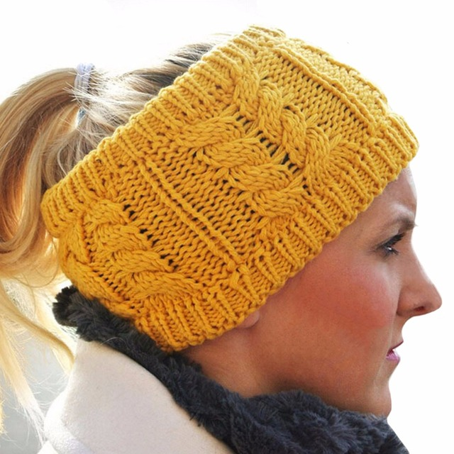 Niñas invierno lana caliente venda elástico stretch ganchillo Bandas ...