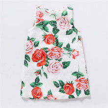 Girls Dress New Brand Girls Clothes Kids Floral Printed Sleeveless Dress Costume For Baby Girls Princess Party A-Line Dress brand new toddler kids baby girls dress halloween dress girls cartoon sleeveless princess dress clothes sundress