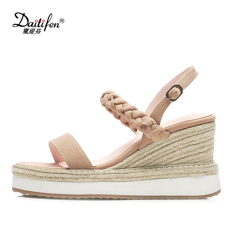 Daitifen Wedges Sandals Women High Heel Platform Sweet Pink Braid Leather Woman Wedges Sandals Ladies Summer Straw Wedged Shoes lenkisen genuine leather big size wedges summer shoes gladiator super high heels straw platform sweet style women sandals l45