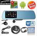 5 inch rearview mirror  GPS  android  dual core 1080P Dashcam+backup Camera  8G   load map Navitel 9.1or full Europe map