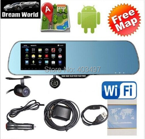 Inch Rearview Mirror Gps Android Dual Core P Dashcambackup Camera G Load Map