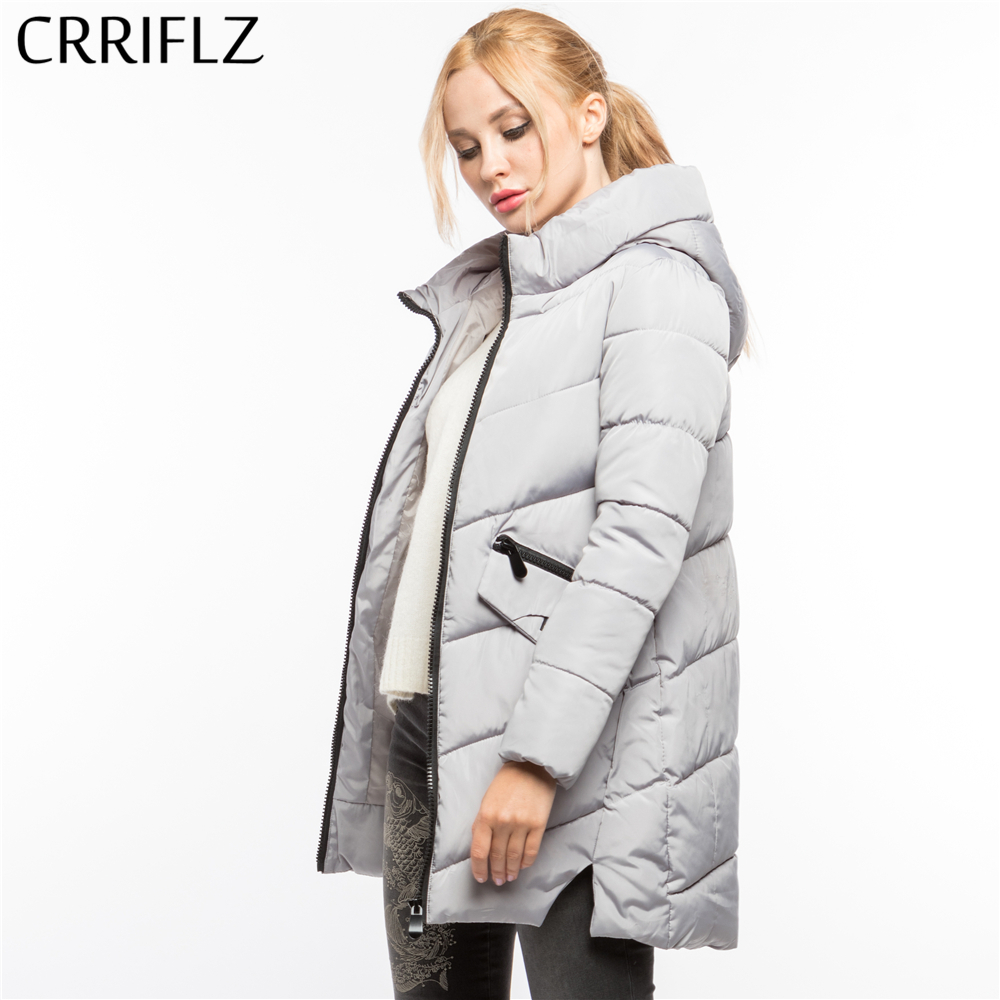 CRRIFLZ Winter Clearance Fashion Warm Winter Jacket Women Hooded Coat Down Parkas Female Outerwear High Quality