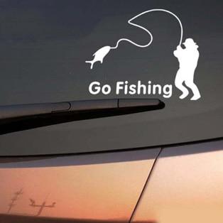 Fishing Hunter Go Fishing Car Boat Sticker Fish Decal Posters Wall Decals Pegatina Decor MuralFisher Sticker