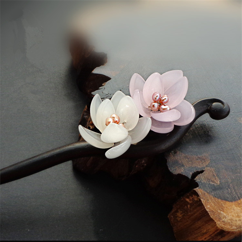 Ebony Hair Stick Fresh Water Pearl Azure Stone Flower Sticks Hair Pin Chinese Jewelry Vintage Wooden Hair Accessories WIGO0789 jadite chinese painting ink hair stick original vintage handmade classical hanfu hair accessory hair stick antique copper stick