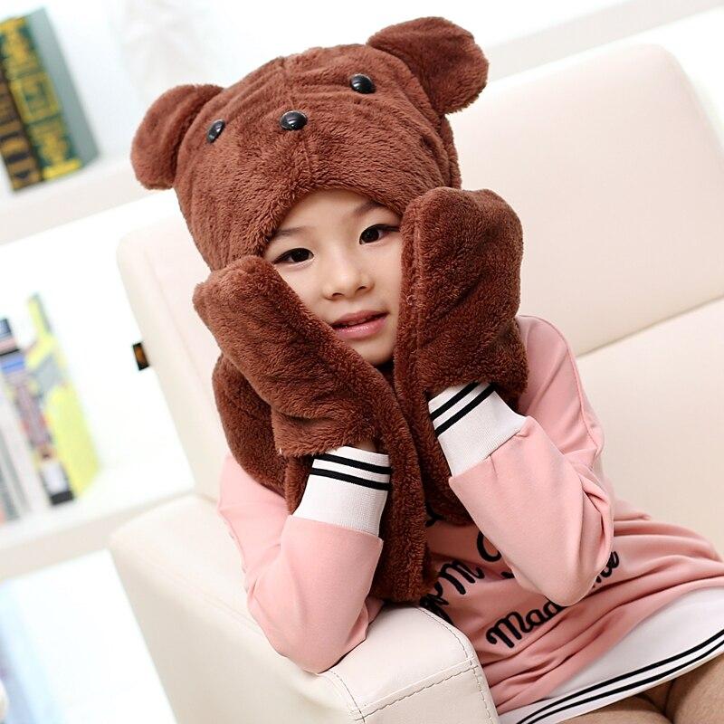 2016 hot sale boys and girls cute bear cartoon hats scarves gloves,Warmth winter children plush hoodie gloves earcap Snood scarf