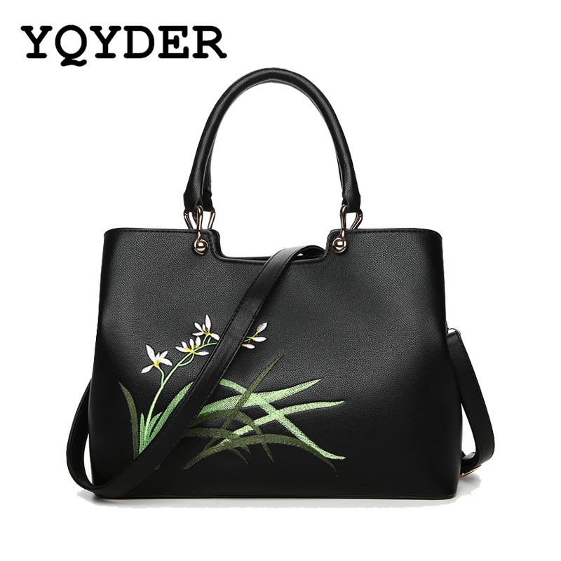Women Embroidered Flower Handbag High Quality PU Leather Shoulder Bag Designer Messenger Bag Ladies Casual Tote Bags Big Bag Sac women handbag shoulder bag messenger bag casual colorful canvas crossbody bags for girl student waterproof nylon laptop tote