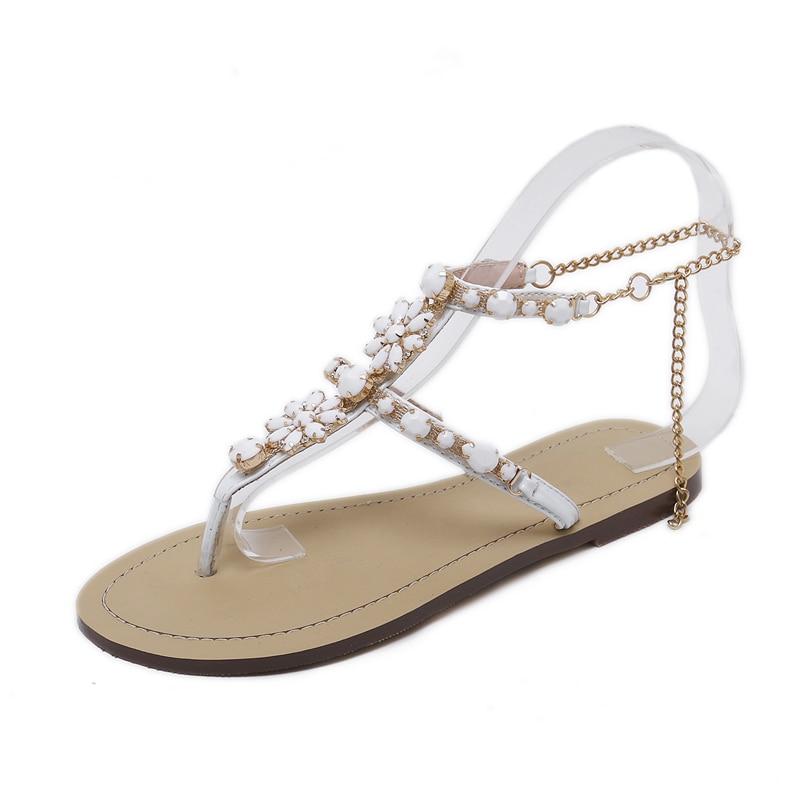HTB1EyJEgHorBKNjSZFjq6A SpXad 6 Color Woman Sandals Women Shoes Rhinestones Chains Thong Gladiator Flat Sandals Crystal Chaussure Plus Size 46 tenis feminino