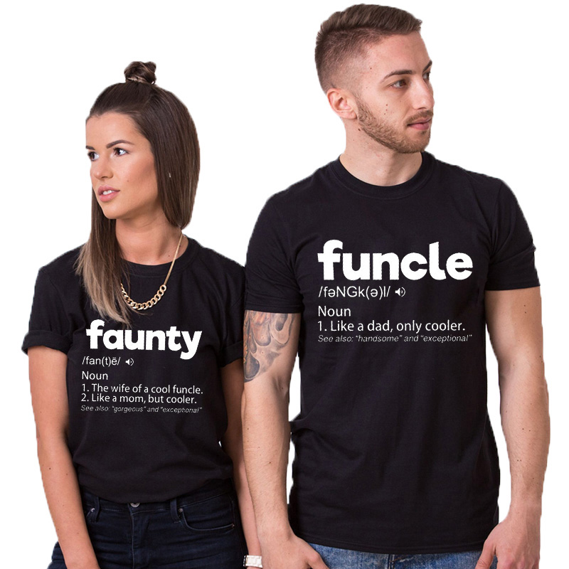 EnjoytheSpirit Funcle & Faunty Definition Funny Couple Matching Tee Shirts for Uncle and Aunt Tshirt 100% Cotton Unisex Casual