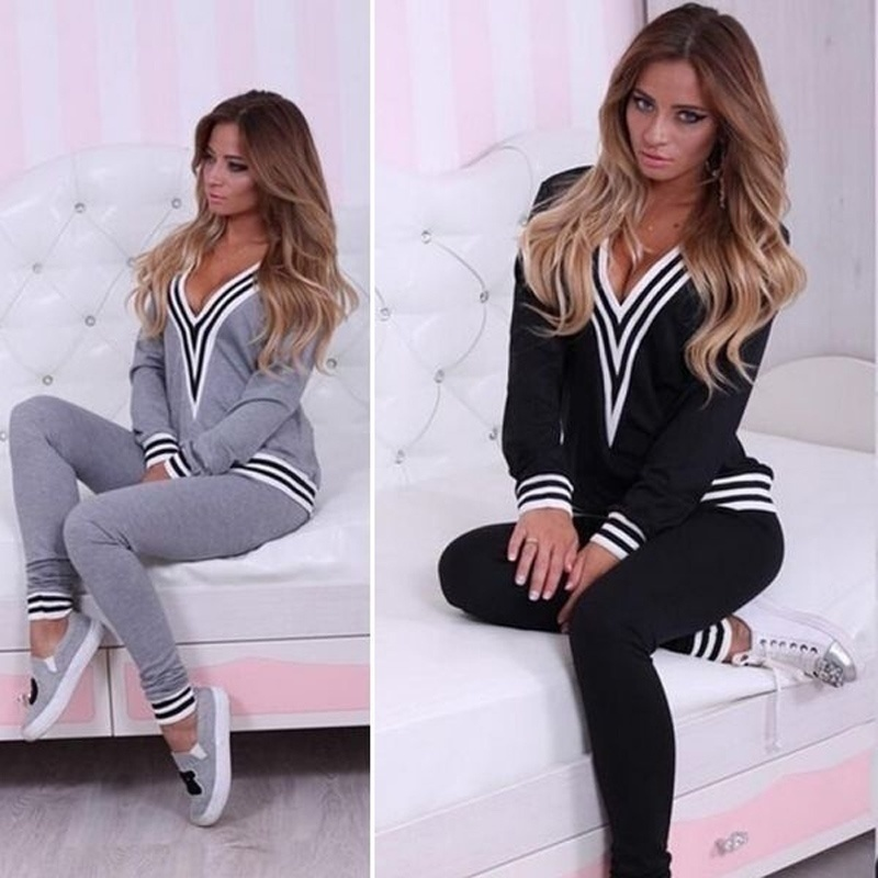 Women Lady Sweatshirt Tops+Pants Casual Tracksuit Set 2Pcs Outfit Sports Suit