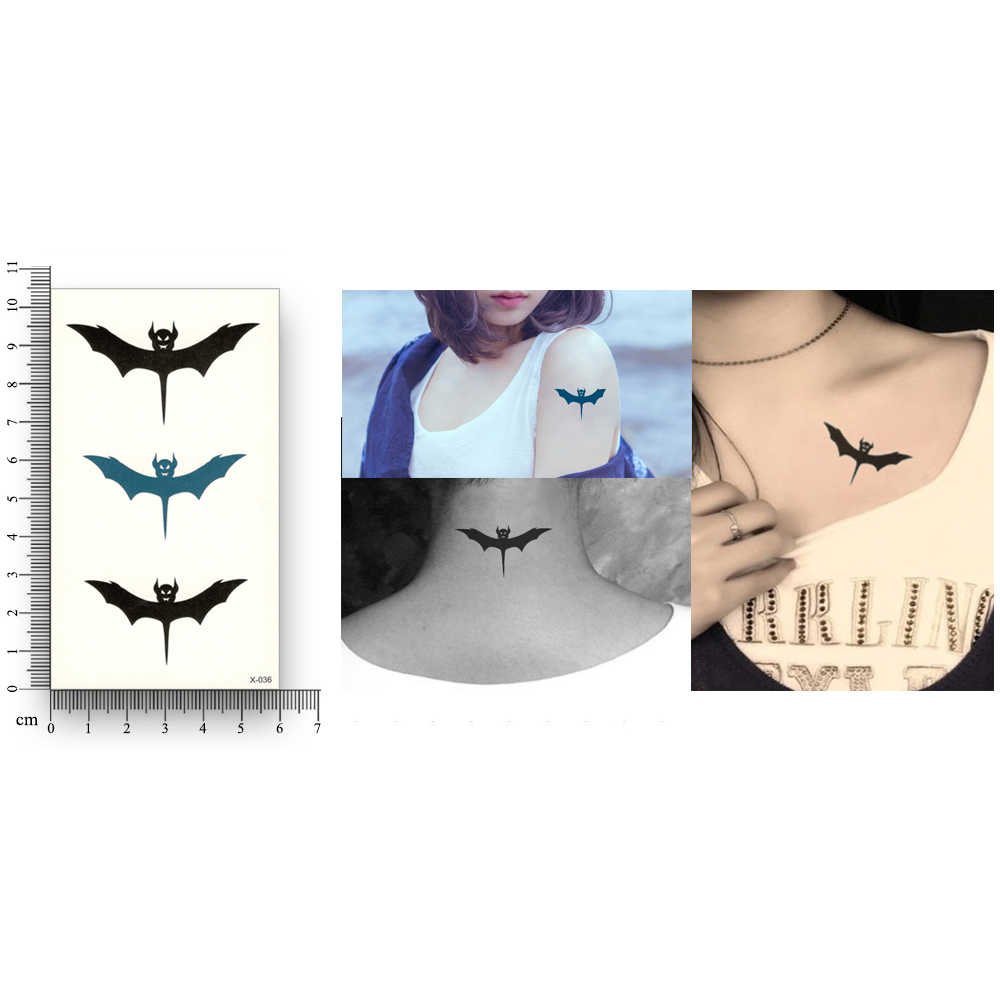 Cute Bat Pattern Waterproof Temporary Sticker Water Transfer fake tattoo Harajuku cool beauty Makeup men women sex body Art