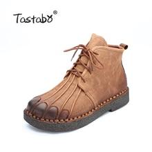 Tastabo ботильоны ручной работы Martin сапоги на плоской подошве 100% г. натуральная кожа Обувь зимние сапоги в стиле ретро; botines Mujer; женская обувь