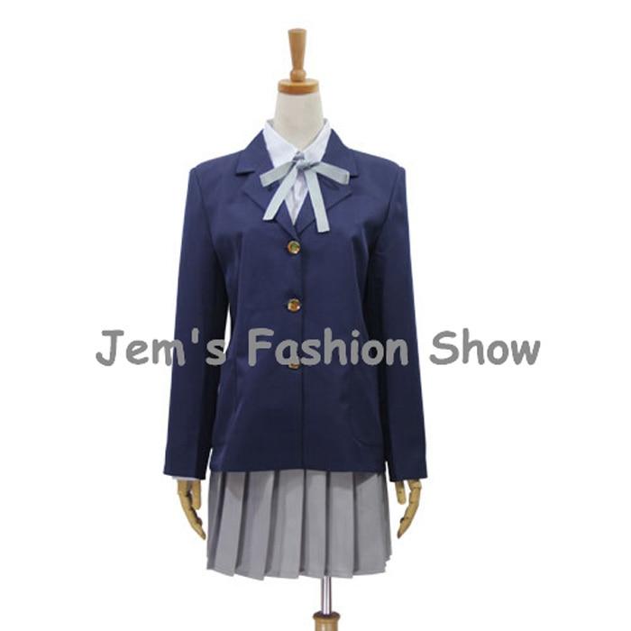 Anime K-ON! Cosplay Hirasawa Yui Girl School Uniforms Halloween Party Costumes (Blazer + Shirt + Skirt + Necktie)