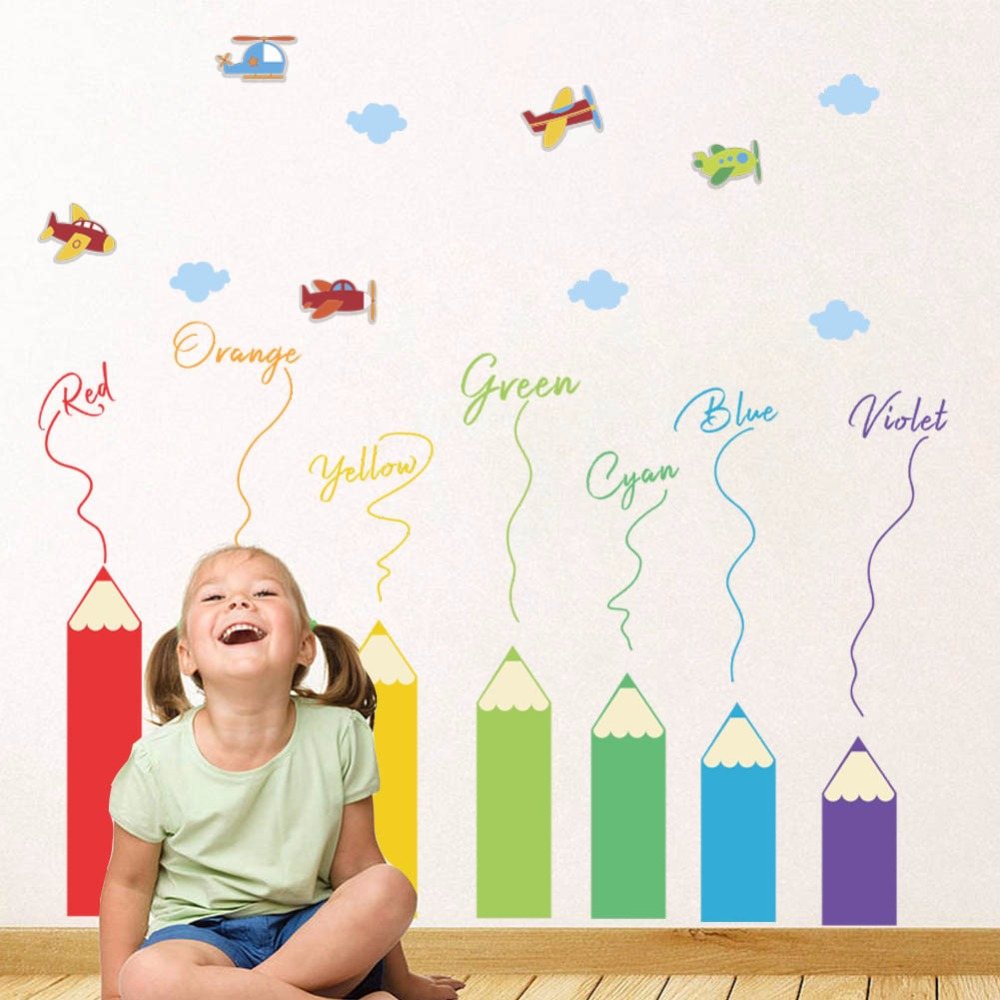 Colorful Pencil Removable Baseboard Wall Stickers for Bedroom Kids room Wall Decoration Cartoon Airplane Decals Art Murals Home image