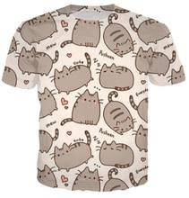 Бесплатная доставка женщины / мужчины Pusheen кот майка мультфильм 3d новинка летние футболки camisa masculina