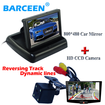 """4.3"""" lcd car display monitor+4 led+ Dynamic track line car  parking camera with the colorful night vision for all cars"""