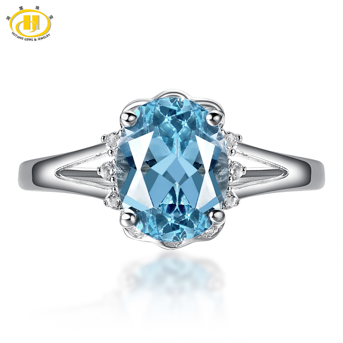 HUTANG NEW Fashion 2.29ct Natural Blue Topaz Solid 925 Sterling Silver Ring Classic Gemstone Fine Jewelry Women's Rings Gift