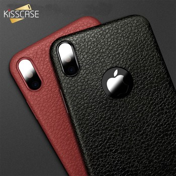 KISSCASE For iPhone X Phone Cases Ultra Thin Leather Skin Soft TPU Silicone Case For iPhone X Business Cover Back For iPhone X grille