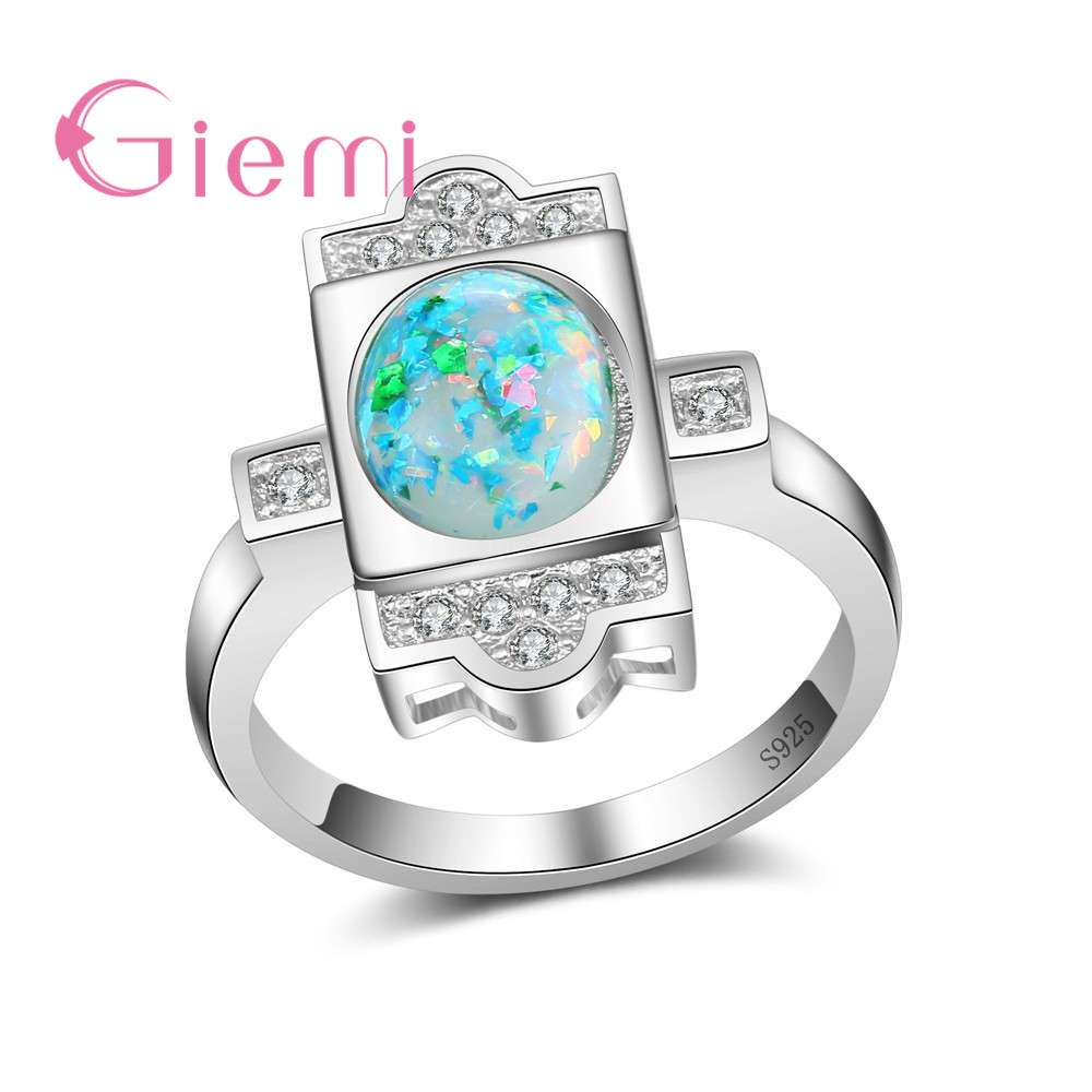 GIEMI Original 100% 925 Sterling Silver Engagement Ring Paved Ocean Blue Colorful Opal S ...