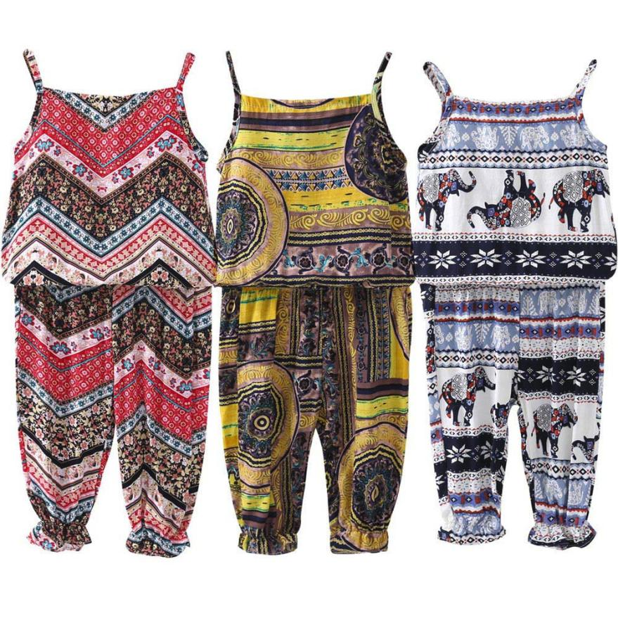 2018 Bohemian Kids Summer suit Children Sets 2pcs Toddler Infant Baby Flowers Girls Clothing Sets Tops Vest+Pants Outfits set girls clothing set 2018 new summer o neck sleeveless toddler girl tops pants girls suit kids clothes children clothing sets