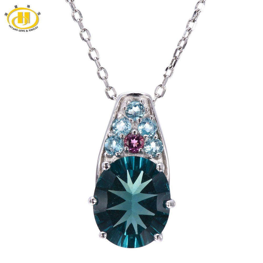 Hutang Natural Blue Fluorite & Tourmaline & Apatite Pendant 925 Sterling Silver Necklace Gemstone Fine Jewelry Hutang Gemstone все цены