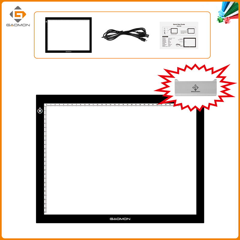 GAOMON GB4 5MM Thickness LED Tracing Board Light Pad with GAOMON Practical Paper Clip