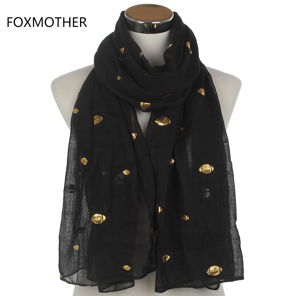 FOXMOTHER New Europe Design Black Purple Red Glitter Metallic Gold Foil Rugby Scarves Shawl Foulard Pashmina For Women Gifts