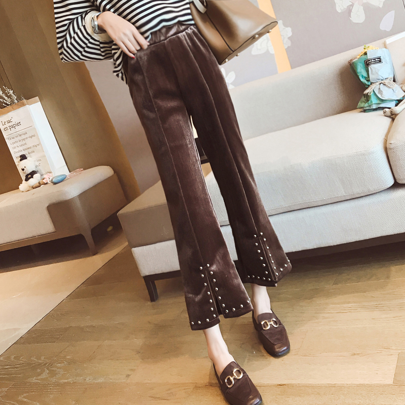 Europe and USA Spring and Autumn Womens Fashion Heavy Handmade Beading Velvet Trousers Vintage Luxury Trousers dd25