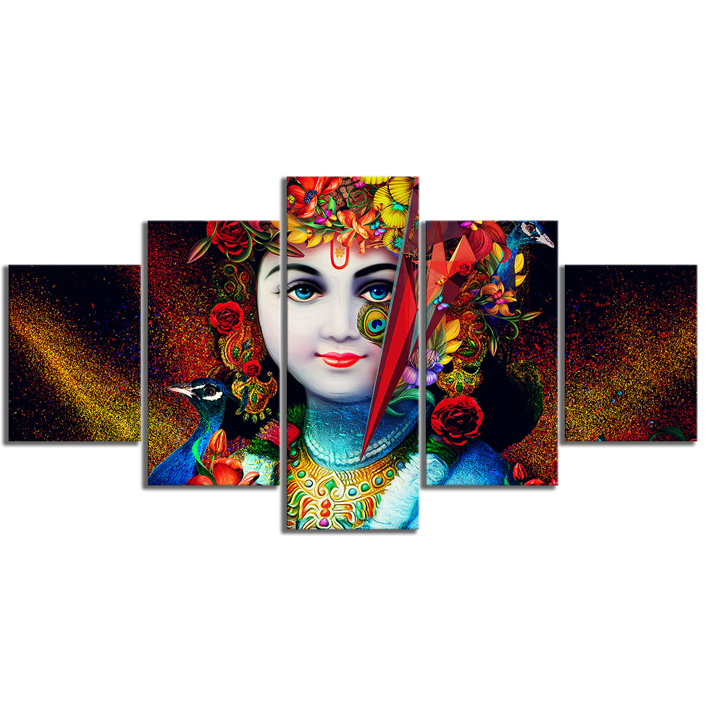 5 Piece Lord Krishna Abstract Art HD Canvas Art Wall Paintings for Home Decor 3