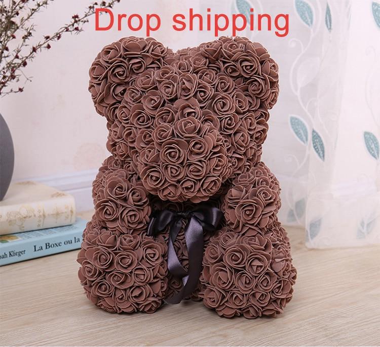 Прямая продажа с фабрики 38 см Роза медведь Искусственные цветы Валентина подруга юбилей подарок Свадебная вечеринка украшения