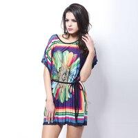 נשים גודל גדול 2017 אופנה האביב והקיץ החדש צבעוני חרצית פרח מותניים שרוול עטלף משי dress