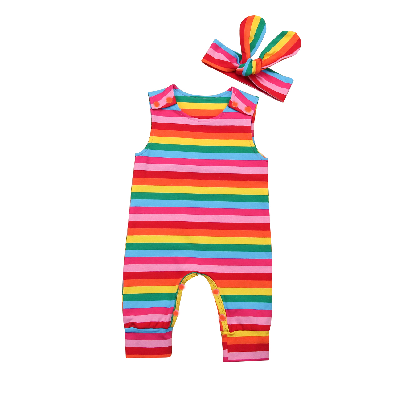 Cute Newborn Baby Girls Rainbow Striped Sleeveless   Romper   Jumpsuit Clothes Outfits