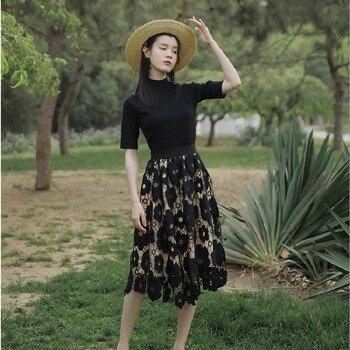 CBAFU new fashion half turtleneck knitted tops hollow out lace skirt suit 2 piece set women's set trousers suit elegant P045