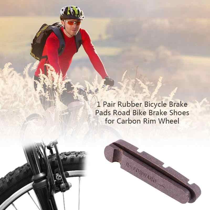 1 paire de plaquettes de frein de vélo en caoutchouc chaussures de frein de vélo de route pour roue de jante en carbone Durable vélo V plaquettes de frein support plaquettes de frein en caoutchouc