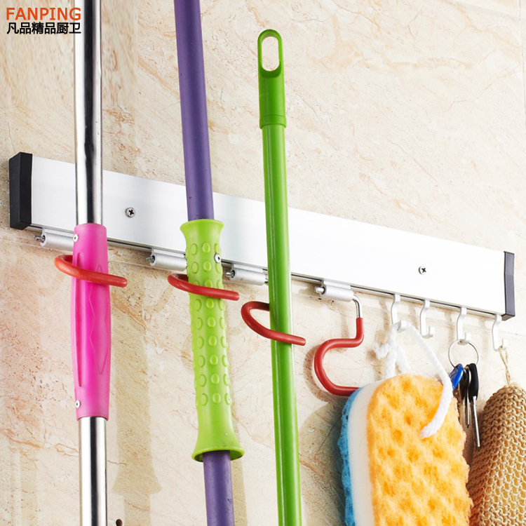 Home Improvement Vidricshelves Wall Mount Plastic 5 Hang 6 Hooks Mop Shelf Balcony Broom Rack Washroom Multi-functional Storage Holder Wf-2562