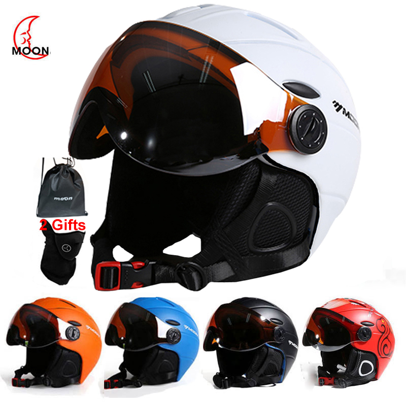 MOON Professional Half covered Ski Helmet Integrally molded Sports man women snow Skiing Snowboard Helmets with Goggles cover