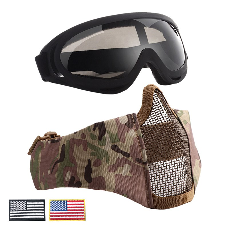 Airsoft Half Face Mask Steel Wire Mesh Tactical UV400 Goggles +Armband Set Hunting Paintball Protective Cosplay Xmas Party Cycling Face Mask     - title=
