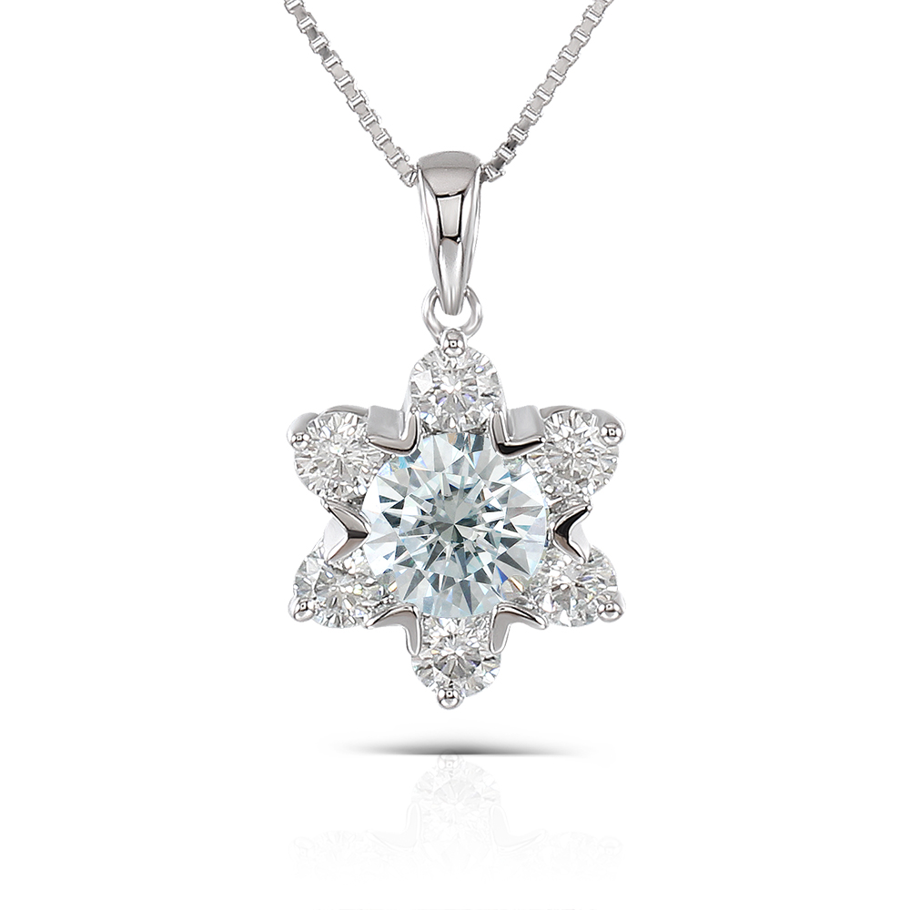 Transgems 1.6CTW Center 6.5mm Round Brilliant Moissanite Pendant Necklace Platinum Plated Silver for Women moissanite pendant 18k 750 yellow gold round brilliant lab grown moissanite diamond pendant necklace chain for women jewelry