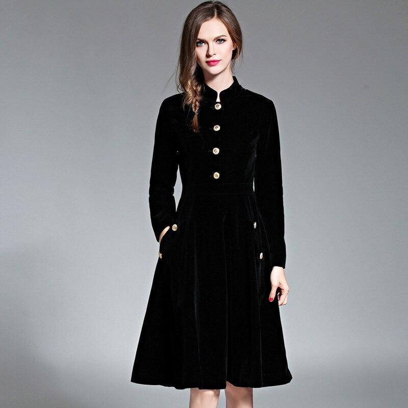 Élégant noir velours Robe hiver robes femmes 2019 Vintage à manches longues dames bureau robes Vestidos Robe Femme Vestido - 4