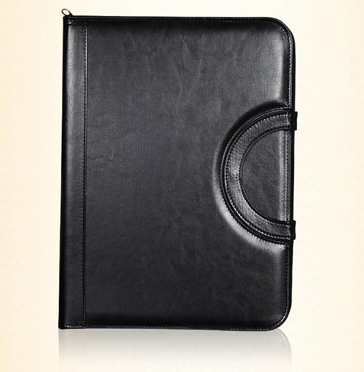 A4 faux cuir sacs pour documents mallette padfolio dossier zippé A4 document sac à fermeture à glissière sac à main avec poignées 1093A