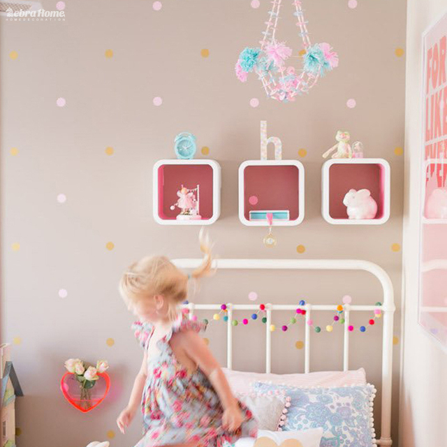 Gold Polka Dots Wall Sticker Baby Nursery Stickers Children Removable Wall  Decals Home Decor Art Vinyl