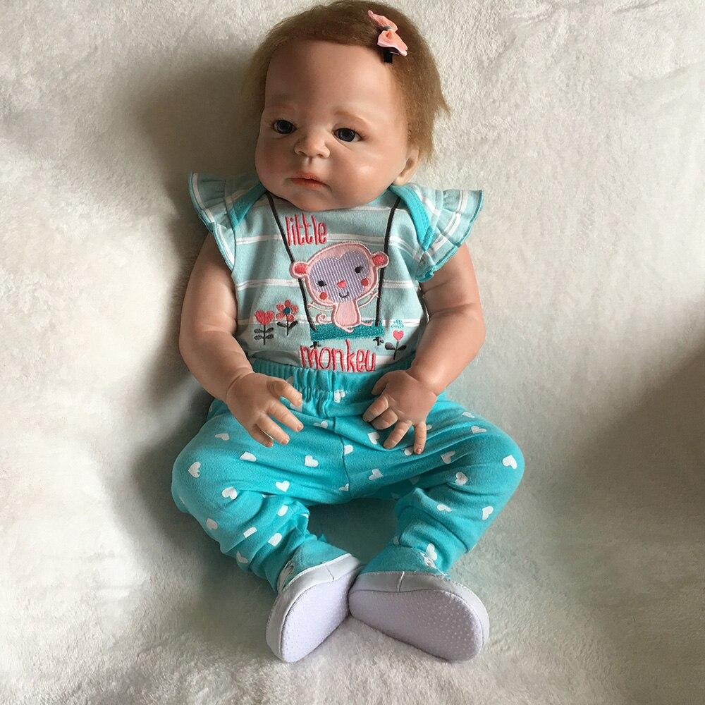 22 inches 55CM Full Body SIlicone Reborn Babies Doll Bath Toy Lifelike Newborn Princess Baby Doll Bonecas Bebe Reborn Menina