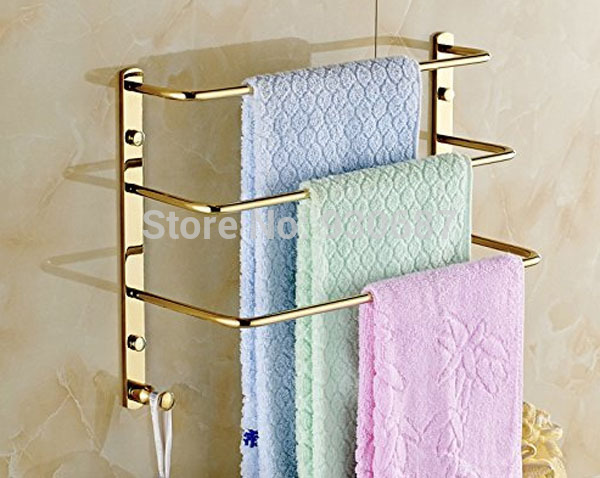 Contemporary Gold Plated Bathroom Wall Mounted Three Tiers Towel Bars одежда для сна gold three pagodas