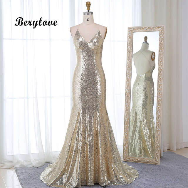 BeryLove Champagne Mermaid Sequin Evening Dresses 2019 Spaghetti Straps Backless Formal Evening Gowns Prom Dresses Robe De Soire