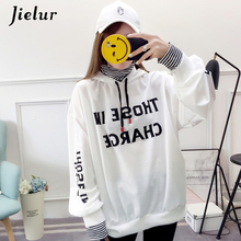 Jielur Fake Two Pieces Autumn Women Hoodies Letter Print Striped Chicly Korean Style Female Hoodie 2019 New Sweatshirt M-XXL