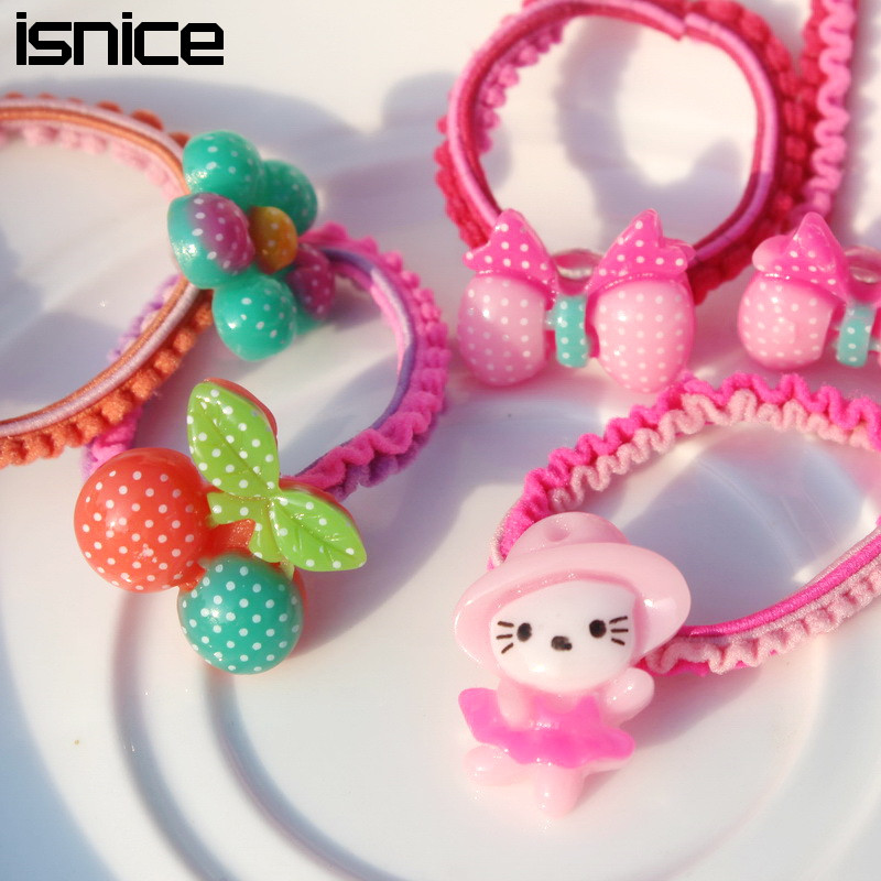30pcs isnice New lovely cartoon fruit Colorful Child Kids Hair Holders Rubber Bands Hair Elastics Accessories Girl Tie Gum